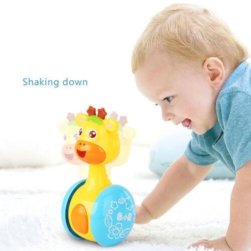 Cartoon Animal Giraffe Tumbler Doll Roly-poly Rattles Ring Bell Baby Kids Toy LH