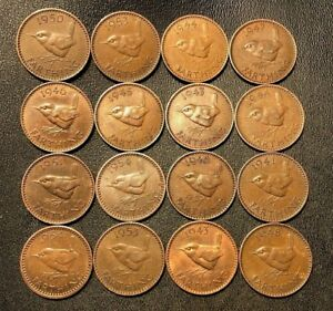 OLD-Great-Britain-Coin-Lot-16-Farthings-Bird-Series-1937-1956