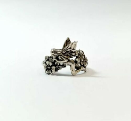 Sterling Silver Fairy and Flower Detailed Ring Si… - image 1