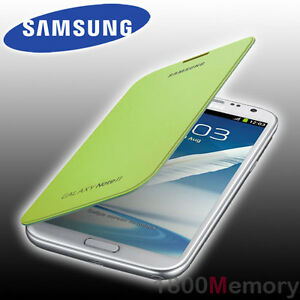 brand new 9c235 716c0 Details about GENUINE Samsung Galaxy Note II 2 Flip Cover Case GT-N7100  GT-N7105 NFC Lime