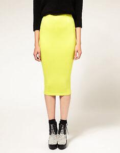Women-Lady-Neon-Bright-Yellow-Knit-Knitted-Warm-Fashion-Pencil-Long-Dress-Skirt