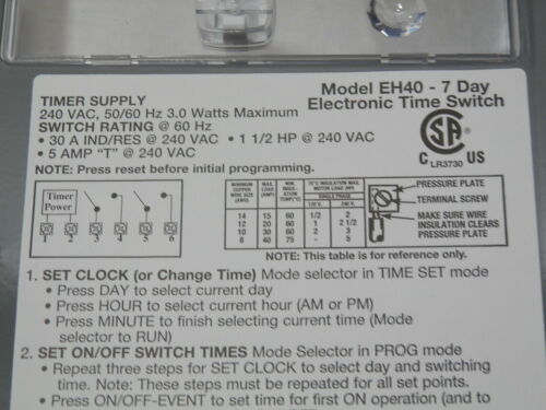 NEW Intermatic EH40 7 day Electronic Timer 240 volt DPST Water Heater Pool 1