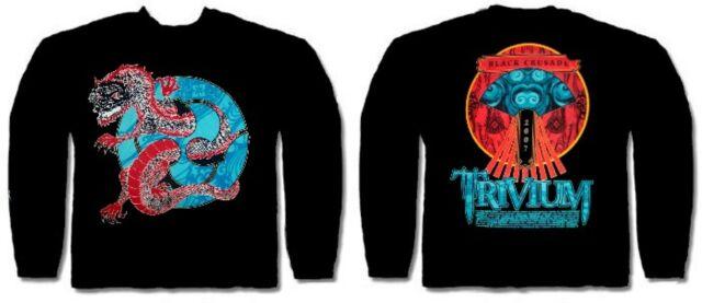 TRIVIUM cd lgo DRAGON TATSU Official L/S TOUR SHIRT LAST MED OOP black crusade