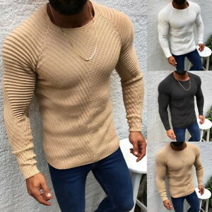 Details about Mens Slim Sweater Fashion Woven Stitching Pullover Thick Sweater Male Clothes
