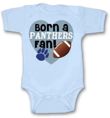Born a Carolina Panthers Football Fan Baby Bodysuit Cute New Gift Size /& Color