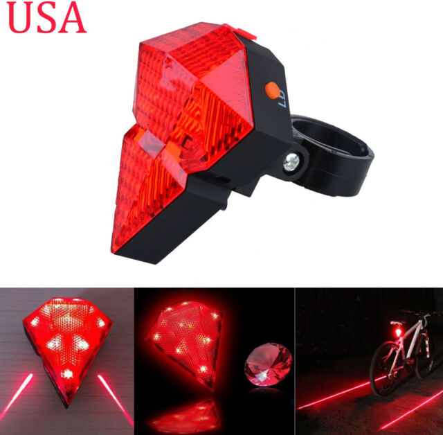 Cycling Bike Tail Light 8 LED Safety 2 Laser Flashing Bicycle Rear Back Lamp New