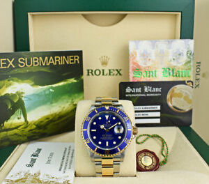 ROLEX-Mens-18kt-Gold-amp-Stainless-Submariner-Blue-Dial-No-Holes-16613-SANT-BLANC