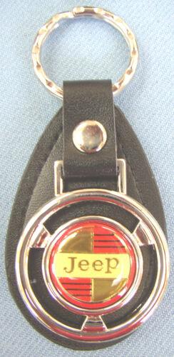Vintage Classic JeeP Mini Steering Wheel Black Leather Key Ring 1965 1966 1967
