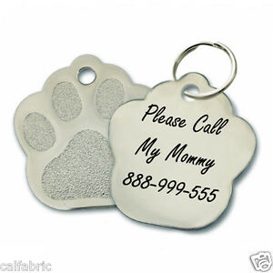 custom personalized engraved stainless steel paw dog tag cat tag pet