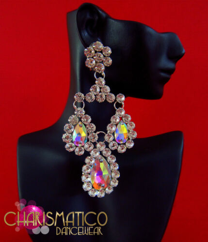 Triple iridescent crystal and rhinestone drop drag queen crystal earrings