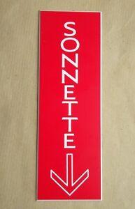 Plaque Gravée Sonnette + Fleche Format 70 X 200 Mm Couleur Rapide