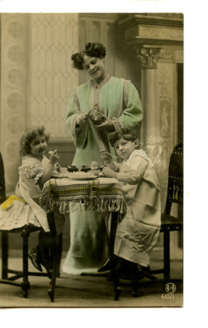 Mom w/ Boy-Girl-Breakfast at Home-Hand Colored RPPC-Real Photo Vintage Postcard