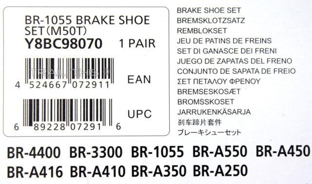 Shimano Mâchoires De Frein m50 T 10 paire bra416 bra410 bra550 br1055 y-8bc98100