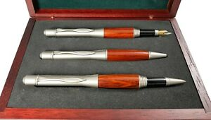Casket-Gift-Brand-Sire-IN-Cherry-With-3-Pens-Fountain-Pen-Roller-And-Sphere