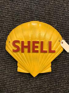 Grande-Vintage-Hierro-Fundido-Shell-Motor-Aceite-Pintado-a-Mano-Publicidad-Signo