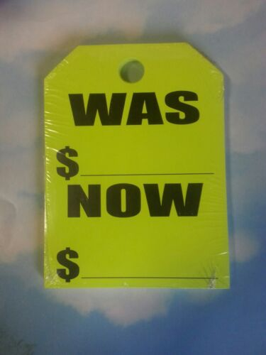 Was//Now ~ Yellow +CAR DEALER 15 WINDSHIELD REAR VIEW MIRROR HANG CARDS TAGS