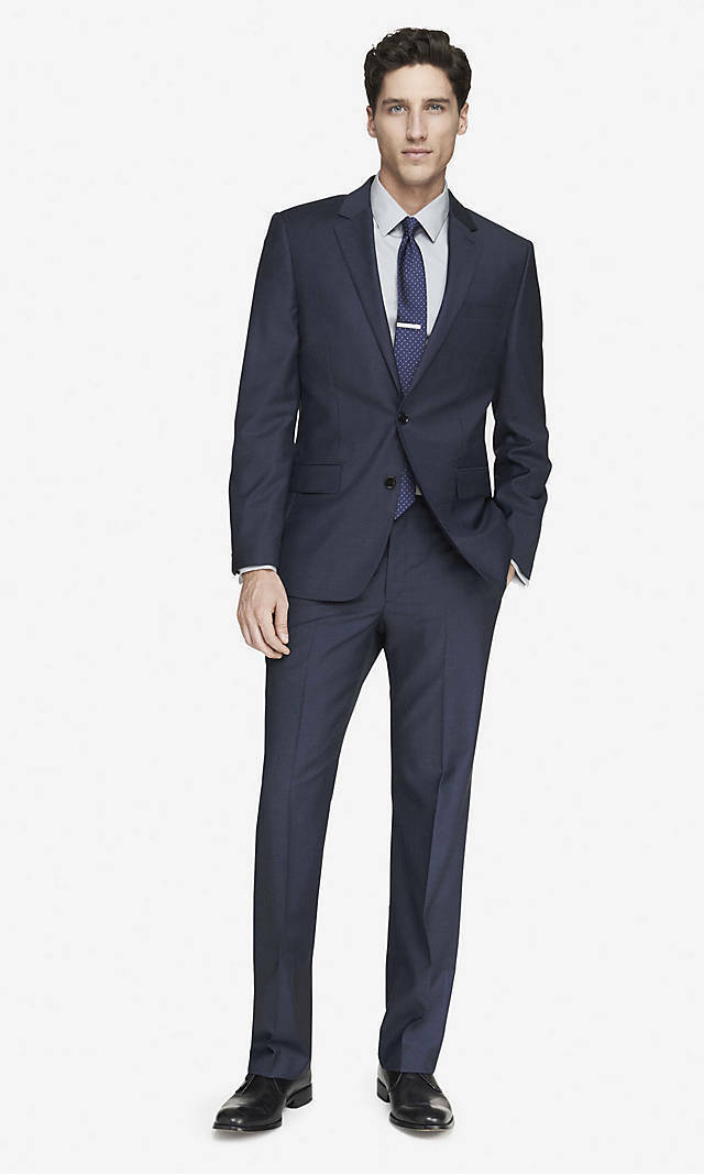 NEW EXPRESS  NAVY MODERN PRODUCER MICRO TWILL SUIT PANT SZ 32 36