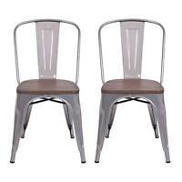 Carlisle High Back Metal Dining Chair With Wood Seat - Natural Metal (set Of 2)