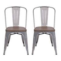 Carlisle High Back Metal Dining Chair With Wood Seat - Natural Metal (set Of 2)