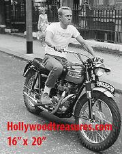 "Steve McQueen~Triumph~Motorcycle~Photo~Motocross~Poster~16"" x  20"""