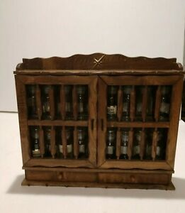 Details About Vintage Antique Wooden Spice Rack With Glass Apothecary Bottles Made In Japan
