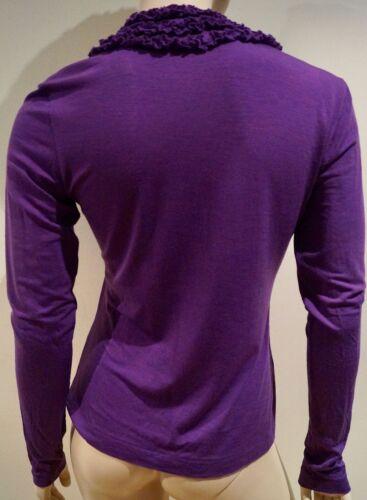 Blend Neck Etro Long Purple Ruffled Sleeve V Top 44 Uk12 Jumper Sweater Wool XEEW1qwT