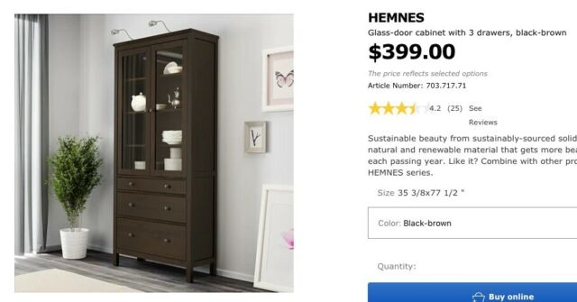 Ikea Hemnes Glass Door Cabinet With 3 Drawers Black Brown 703 717 71