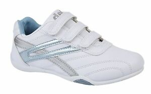 LADIES-WOMENS-FAUX-LEATHER-WHITE-BLUE-HOOK-LOOP-STRAP-TRAINERS-SIZE-3-4-5-6-7-8
