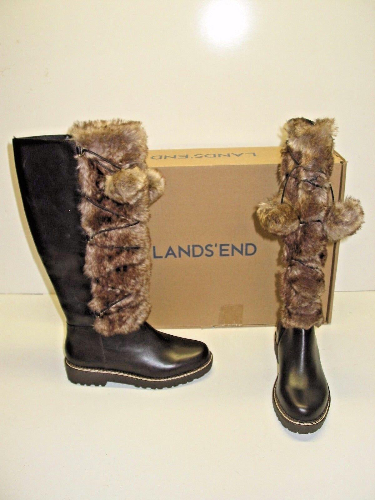 Lands End Long marron Leather Faux Fur Low Heel Lace Up chaussures bottes femmes 7.5