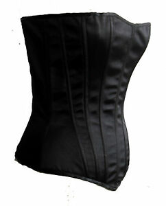 NEW-BLACK-SATIN-LAURIE-HOURGLASS-CORSET-METAL-BONED-S-LEG-AVENUE-BUSTIERE-TOP