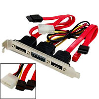Dual SATA to 2 Ports eSATA + 4 Pin IDE Power PCI Bracket Slot Cable YG