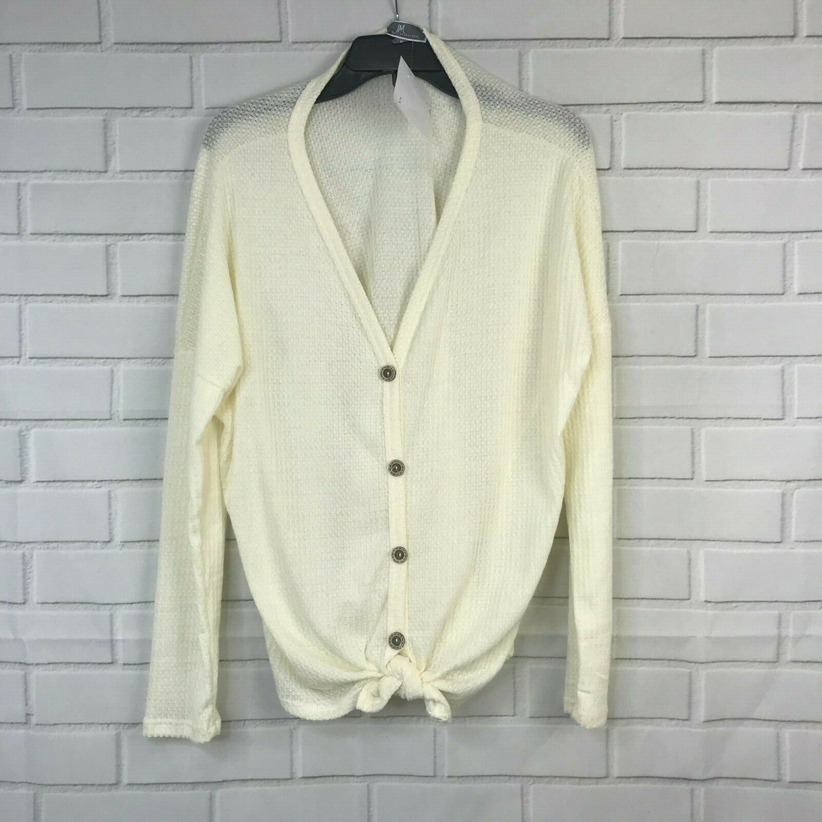 JM Collection Sweater Front Knot Button Down Cardigan Waffle Knit Womens Size PL