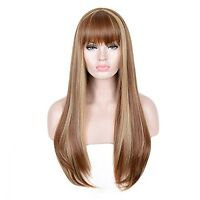 Siyi Long Straight Blonde Wig With Bangs Brown Highlights Synthetic Full Wig ...