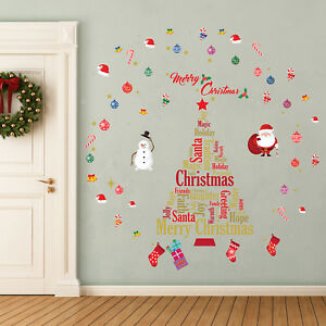 Details About English Christmas Wall Stickers Wall Art Diy Art Home Decorations Decals