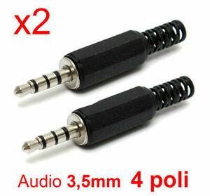 2-PEZZI-Connettore-Jack-3-5mm-4-Poli-Maschio-Audio-cuffie-microfono-in-plastica
