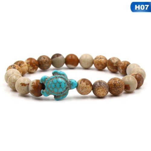 Ocean Sea Turtle Silver Plated Bracelet Lava Turquoise Beaded Boho Jewelry UK