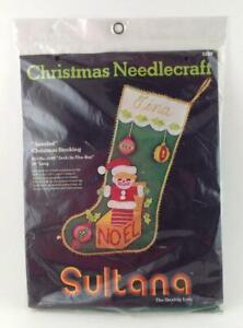 1974-Sultana-Jeweled-Christmas-Felt-Stocking-Kit-1249-Vintage-15-034-Jack-in-the-Box