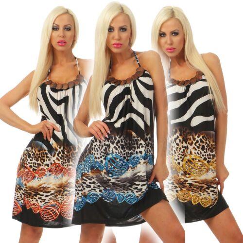 Holzkette Rückenfrei 5361 Damen Mini Kleid Sommerkleid Neckholder Exotisch m