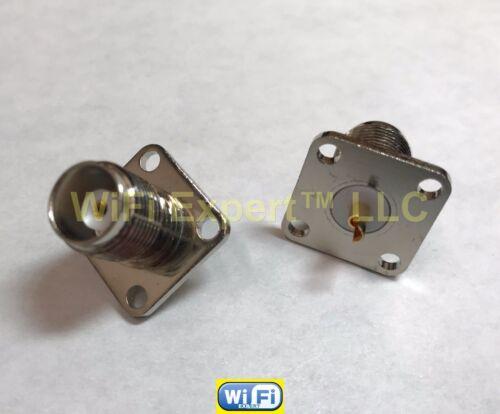 1 x TNC FEMALE Flange Jack panel 4 holes mount solder cup RF Cable Connector US