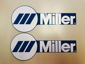 WHITE SET OF 2 MILLER WELDER WIDE DECAL STICKER