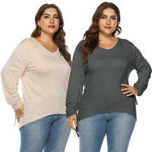 Ubergroessen-Shirt-Damen-Herbst-Casual-Langarm-V-Ausschnitt-Bandage-Solid-Bluse-Tops
