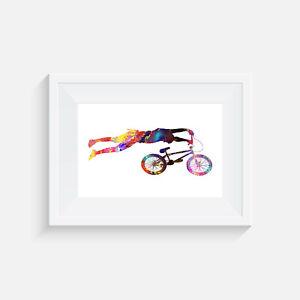 poster bike decor picture print BMX The 360° wall art watercolour gift