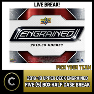 2018-19-UPPER-DECK-ENGRAINED-5-BOX-HALF-CASE-BREAK-H329-PICK-YOUR-TEAM