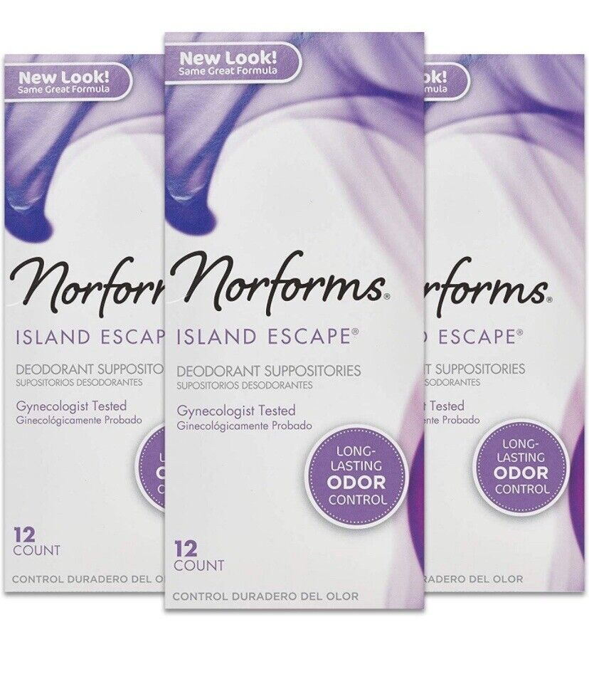 36 Norforms Deodorant Vaginal Suppositories Island Escape Women's Health 3 Boxes
