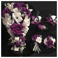 Purple White Silver Babies Breath Bridal Bouquet Package 21 Pc