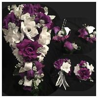 Purple White Silver Babies Breath Bridal Bouquet Package 21 Pc