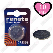 10 CR2325 Renata Batteria, Pila al Litio Diossido di manganese, 190 mAh, 3V