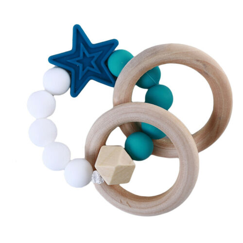 Baby Silicone Beads Teething Stick Bracelet Wooden Ring Chewable Teether Toys CB