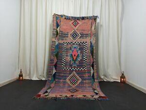 "Berber Tribal Vintage Moroccan Rug 4' x 8'2"" Old Antique Diamond Handmade Carpet"