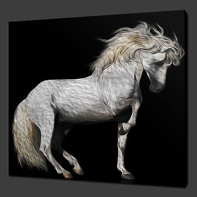"""WHITE HORSE PAINTING STYLE CANVAS WALL ART PICTURES PRINTS 12/""""x12/"""" FREE UK P/&P"""
